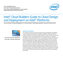 Intel® Cloud Builders: Telecom Energy Datacenter Manager