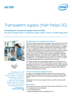 Transparent Supply Chain Helps SGI Meet Regulations