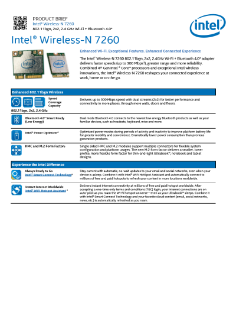 Intel® Dual Band Wireless-N 7260 BGN with Bluetooth®: Product Brief