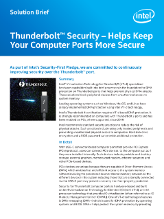 Thunderbolt™ Security Solution Brief
